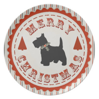 Retro Merry Christmas Scottish Terrier Dog Melamine Plate