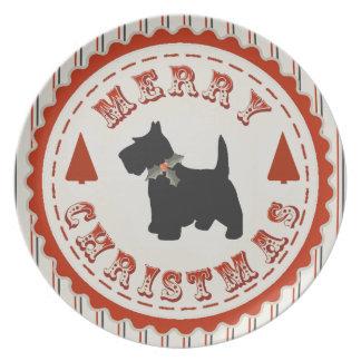 Retro Merry Christmas Scottish Terrier Dog Melamine Plate