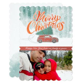 Retro Merry Christmas Snow Photo Card