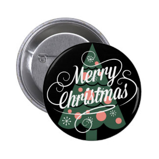 Retro Merry Christmas Tree Pinback Buttons