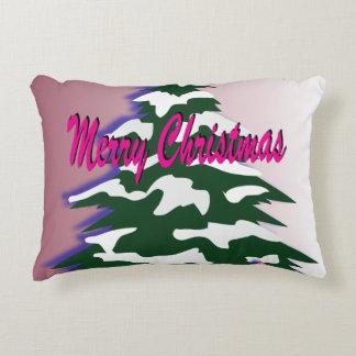 Retro Merry Christmas Tree Decorative Pillow