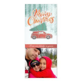 Retro Merry Christmas Tree Photo Card