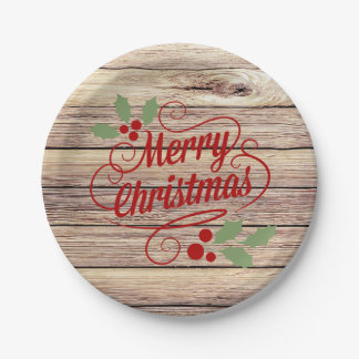 Retro Merry Christmas Typography Birch Wood Paper Plate