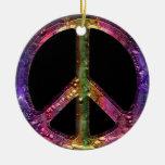 Retro Metallic Grunge Peace Sign Christmas Decor Ceramic Ornament