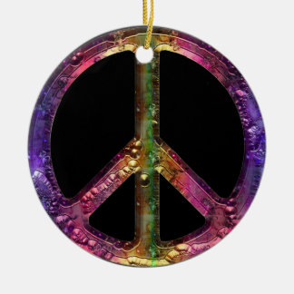 Retro Metallic Grunge Peace Sign Christmas Decor Ceramic Ornament