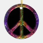 Retro Metallic Grunge Peace Sign Christmas Decor Double-Sided Ceramic Round Christmas Ornament
