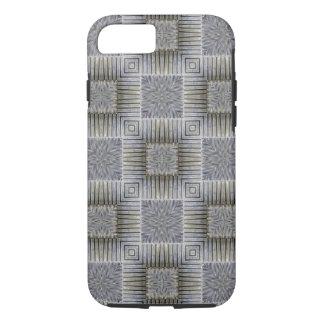 Retro Metallic Silver Decorative Squares Pattern iPhone 7 Case