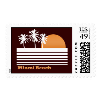 Retro Miami Beach Postage Stamps