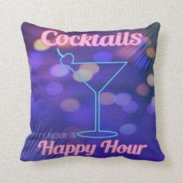 Beach Themed Retro Miami Cocktail Hour Neon Blue Pink Bar Sign Throw Pillow