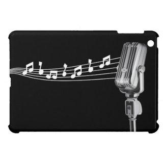 Retro Mic & Musical Notes Black iPad Mini Case