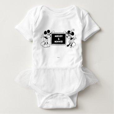 Disney Themed Retro Mickey & Minnie Baby Bodysuit