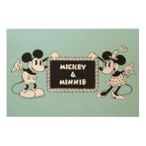 Retro Mickey & Minnie Wood Print