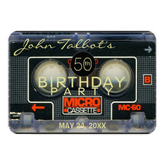 Retro Micro Audiotape 50th Birthday Invitation