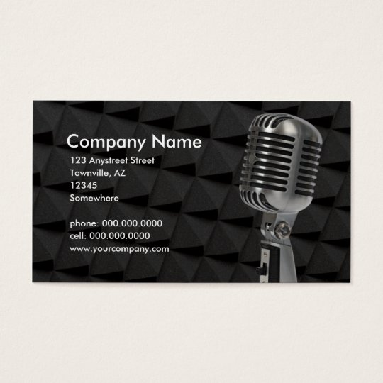 retro microphone business card