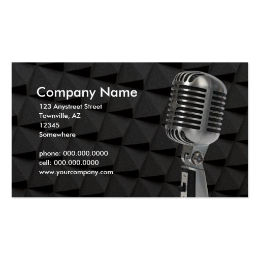 retro microphone business card template