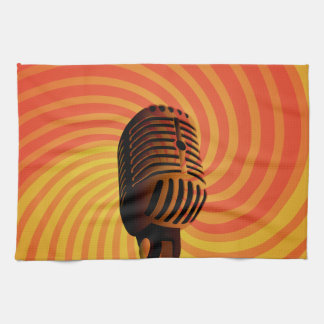 Retro Microphone custom hand towel