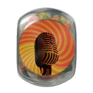 Retro Microphone custom tins & jars Glass Jar