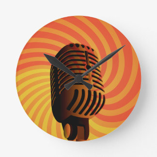 Retro Microphone custom wall clock