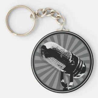 Retro Microphone Graphic Keychain