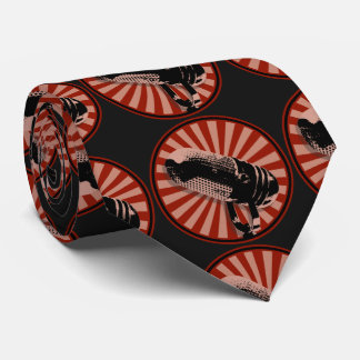 Retro Microphone Graphic Red Tie