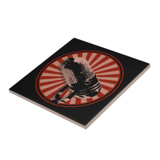 Retro Microphone Graphic Red Tile