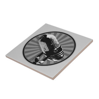 Retro Microphone Graphic Tile