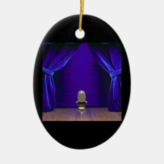 Retro Microphone On Stage Ceramic Ornament