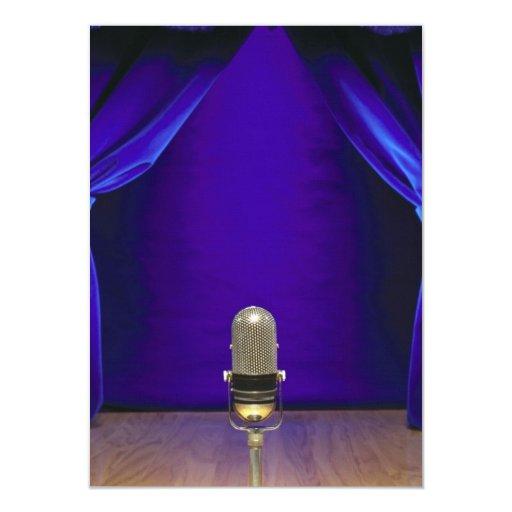 Retro Microphone On Stage Custom Invitations