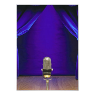 Retro Microphone On Stage 4.5x6.25 Paper Invitation Card