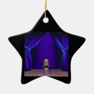 Retro Microphone On Stage Christmas Tree Ornaments