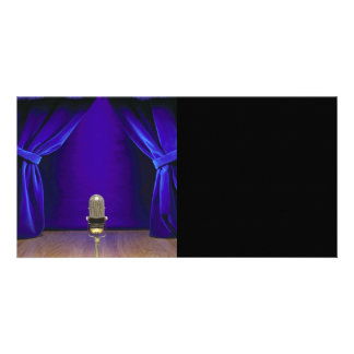 Retro Microphone On Stage Personalized Photo Card