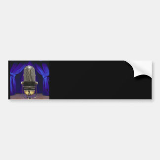 Retro Microphone & Stage Curtains Bumper Sticker