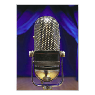 Retro Microphone & Stage Curtains Card