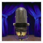 Retro Microphone & Stage Curtains Print