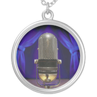 Retro Microphone & Stage Curtains Round Pendant Necklace