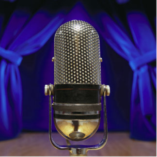 Retro Microphone & Stage Curtains Statuette