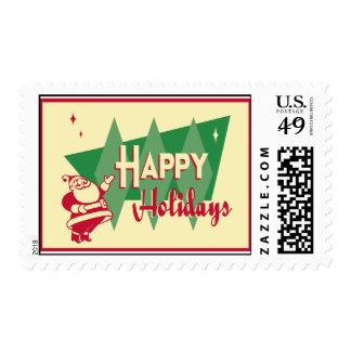 Retro Mid-Century Happy Holidays Postage