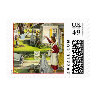 Retro Mid-Century in The Burbs Postage Stamp