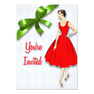 Retro Mid Century Modern Christmas Party Card at Zazzle