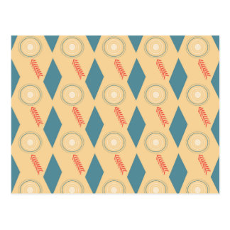Retro Mid Century Modern Circles Arrows Diamonds Postcard