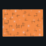"Retro Mid Century Modern Placemat<br><div class=""desc"">Retro Placemat with pastel pink stars and black abstract lines pattern on orange background. This mid century modern design is customizable. For a different background color click Customize It then pick from the swatches.</div>"