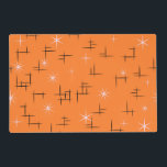 """Retro Mid Century Modern Placemat<br><div class=""""desc"""">Retro Placemat with pastel pink stars and black abstract lines pattern on orange background. This mid century modern design is customizable. For a different background color click Customize It then pick from the swatches.</div>"""