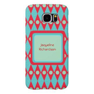 Retro Midcentury Argyle Pattern Personalized Name Samsung Galaxy S6 Case