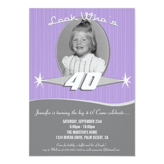 Retro Milestone Birthday Party Photo Invitation