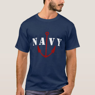 Retro Military Navy Blue Tee Shirt Template Anchor
