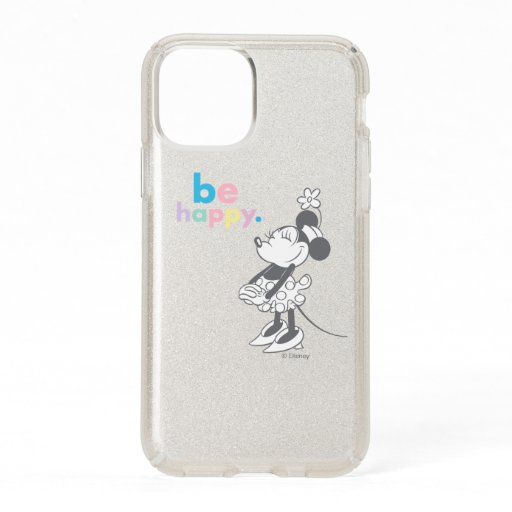 Retro Minnie Mouse - Be Happy Colored Text Speck iPhone 11 Pro Case
