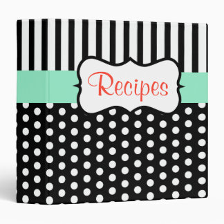 Retro Mint Black Kitchen Recipe Binder Gift