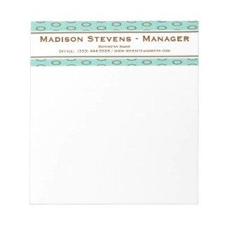 Retro Mint Green Brown Circles Notepad