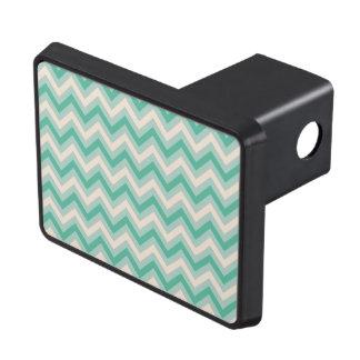 Retro Mint Green Chevron Stripes Tow Hitch Cover