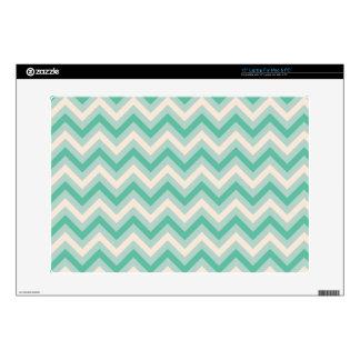 "Retro Mint Green Chevron Stripes Decal For 15"" Laptop"
